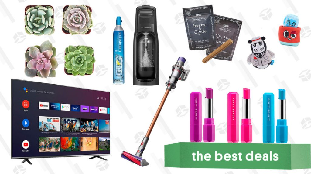 "TCL 50"" 4K Smart TV, BarkBox Monthly Subscription Box, Succulents & Plants, SodaStream Kit, Fenty Poutsicle Lipsticks, and Dyson V10 Absolute"