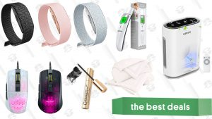 Buffy Cloud Comforter, Amazon Halo Device, Infrared Thermometer, Lightweight Gaming Mouse, Air Purifier, French Mascara, and More