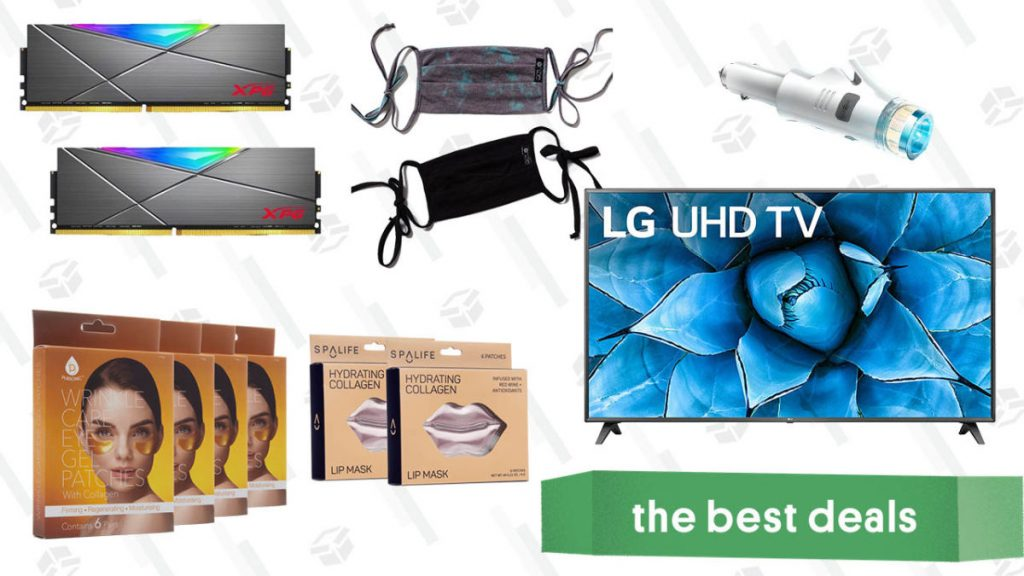 LG 75-Inch Smart 4K TV, XPG DDR4 RAM, Hydrating Collagen Masks, Onzie Face Masks, Car Safety Multi-tool, and More
