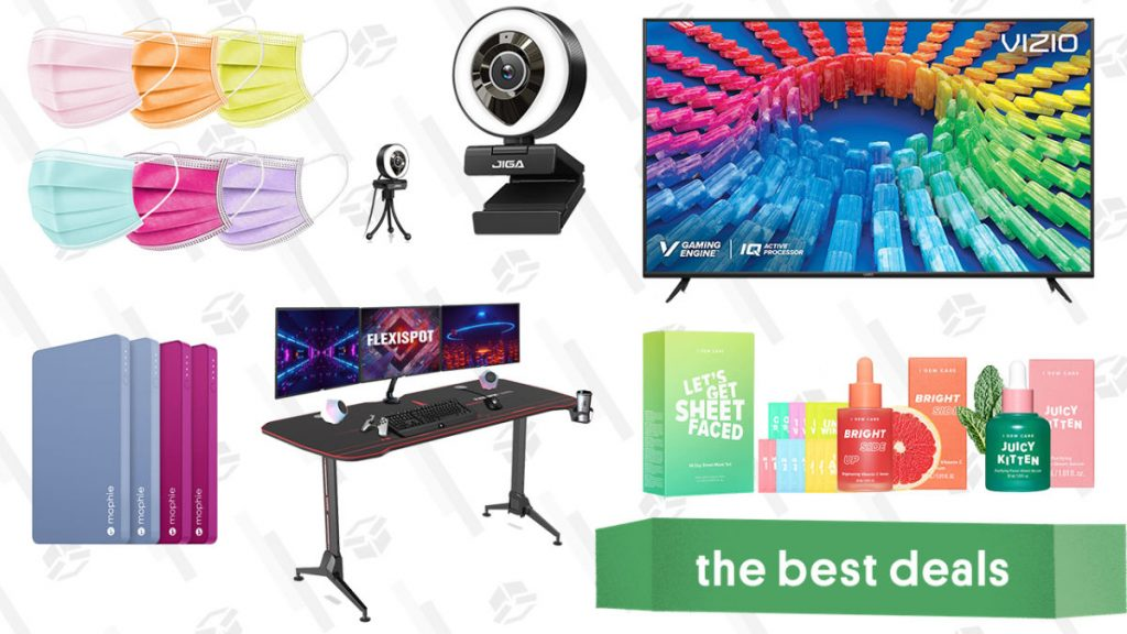 Vizio 50-inch 4K Smart TV, Ring Light Webcam, I Dew Care K-Beauty Products, Mophie Power Banks, Flexispot Gaming Desk, and More