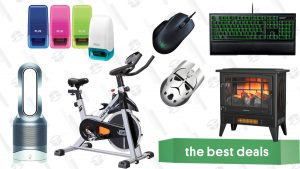 Razer Accessories, Dyson Hot + Cool Air Purifier, Indoor Electric Fireplace, Yosuda Stationary Bike, Identity Guard Rolling Stamps, and More