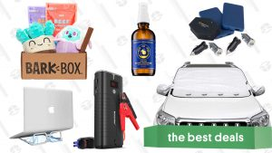 BarkBox Subscription, Car Jump Starter, Portable Laptop Stand, Mophie Powerstation Charging Bundle, Windshield Snow Covers, and More