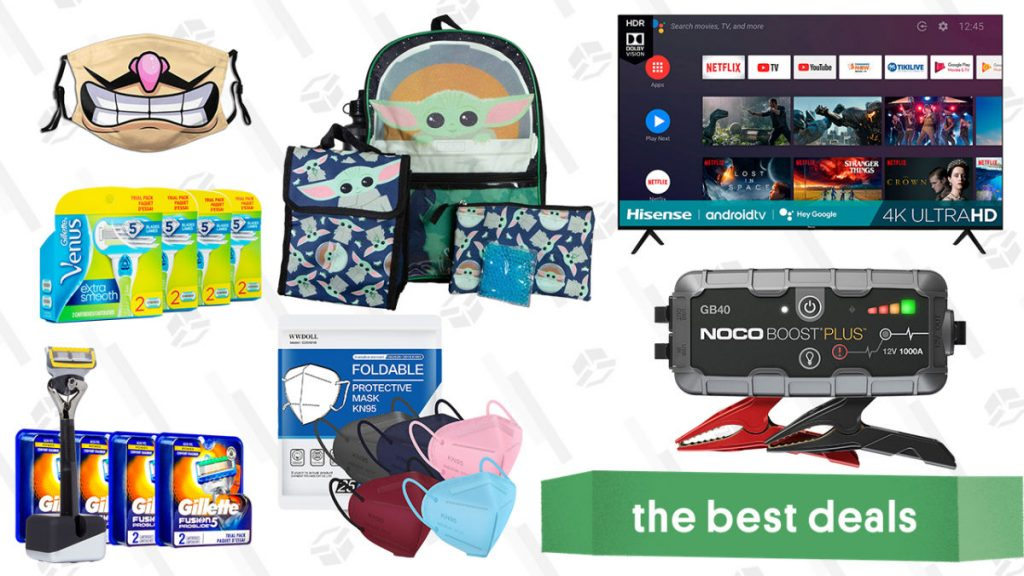 """Hisense 70"""" 4K TV, The Child Backpack and Lunchbox Set, KN95 Face Masks, Gillette Razor Refills, Noco Boost Plus Jump Starter, and More"""
