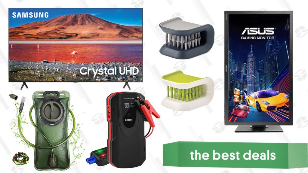 Samsung 70″ 4K TV, Asus Gaming Monitor, Cutlery Brushes, 2L Hydration Bladder, Grepro Jump Starter, and More