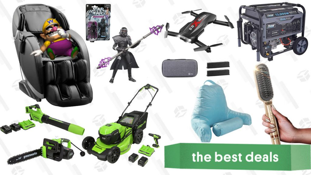 Pulsar Heavy-Duty Generator, Insignia Massage Chair, Star Wars Action Figures, Holy Stone Drone, Greenworks Outdoor Power Tools, and More